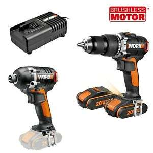 WORX WX932 18V (20V MAX) Cordless BRUSHLESS Combi Drill/Impact Driver Twin Pack: now just £119.99 (£110 off) @ eBay / positecworx