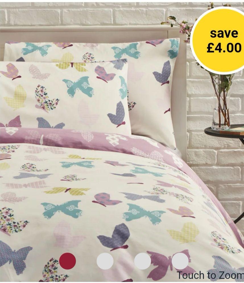 Wilko Pink Textured Butterfly Double Duvet Set £10 @ Wilko (+£2 Click & Collect)