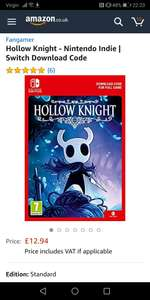Hollow Knight - Nintendo Indie | Switch Download Code - £12.94 @ Amazon