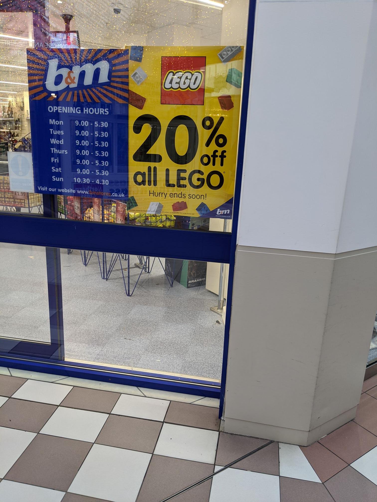 20% off ALL Lego @ B&M Bury Mill Gate