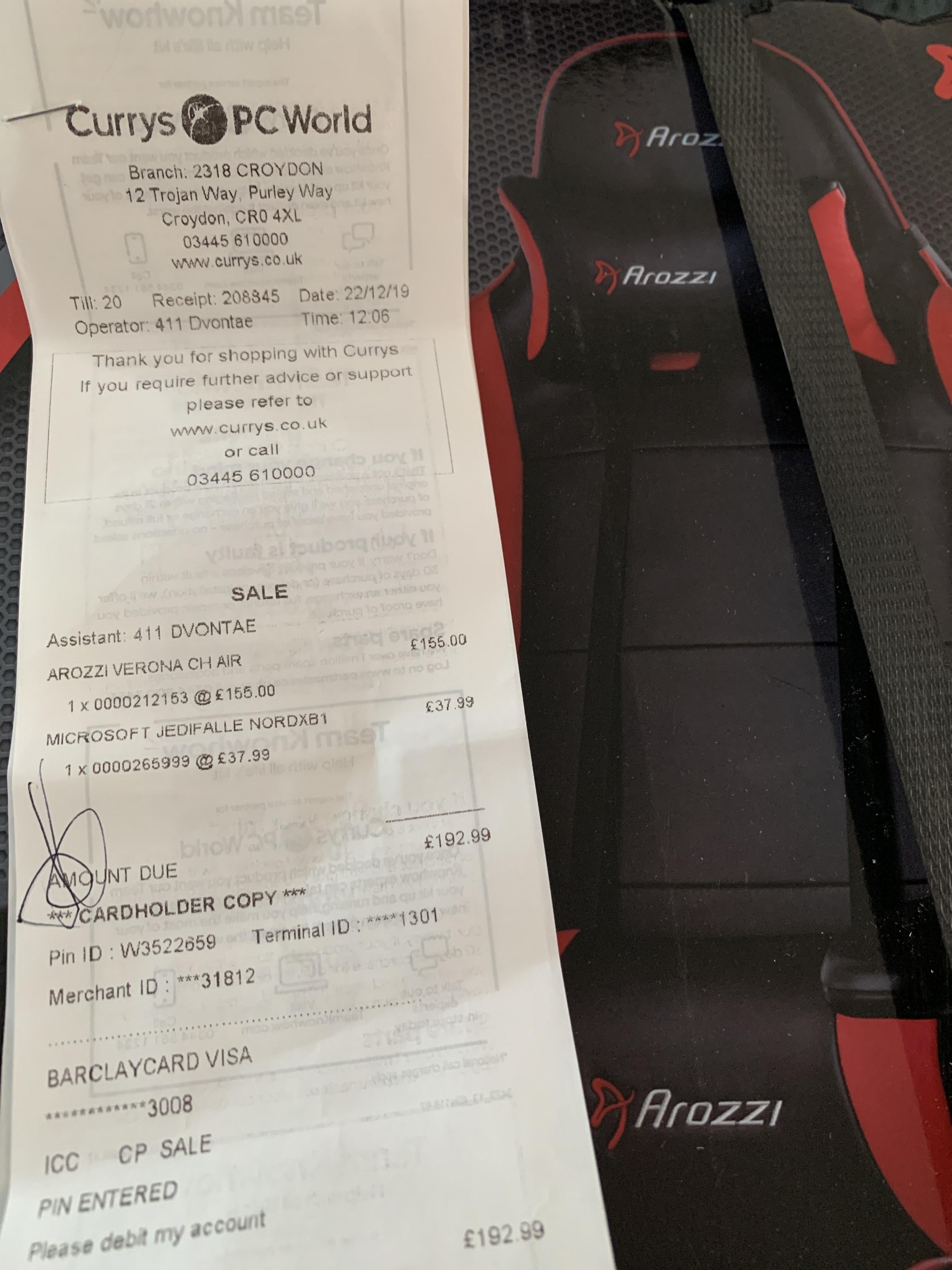 Arozzi Verona V2 Premium Gaming Chair £155 @ Currys PC World