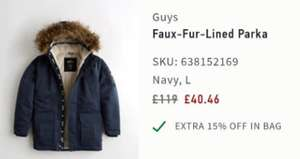 "Hollister Faux-Fur-Lined Parka ""Blue only"" free click & collect in store £40.46 or £5 delivery"