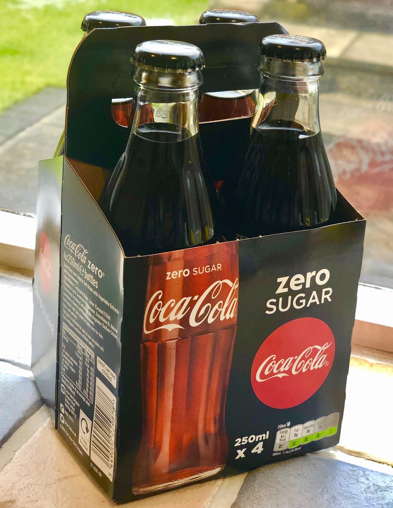 Coca Cola Zero (Coke Zero) 4 glass bottles for £1 at Fulton Foods - Ashton-under-Lyne