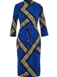 FOREVER Blue Animal Effect Midi Dress £12.99 + £1.99 click and collect @ Tk Maxx