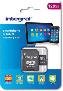 Integral 128 GB microSDXC Class 10 Memory Card for Smartphones and Tablets, Up to 80 MB/s, U1 Rating £11.96 @ Amazon