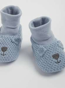 Blue Knitted Bear Sock Booties - 3-6 months £5 at Argos