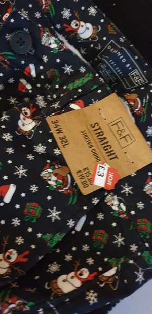 F&F Straight Stretch Chino Christmas Trousers £3 instore @ Tesco Shirley