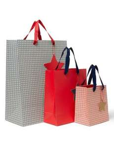 Marks & Spencer - Checked Print Christmas Gift Bags Pack of 3 £2.50 - Free Click & Collect