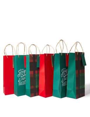 Marks & Spencer - Red & Green Christmas Bottle Gift Bags Pack of 6 £3 (Free C&C)