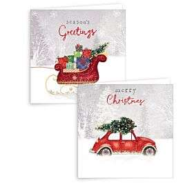 Robert Dyas - Giftmaker 10 Square Cards - Red Car & Sleigh - £0.89 with code - Free C&C