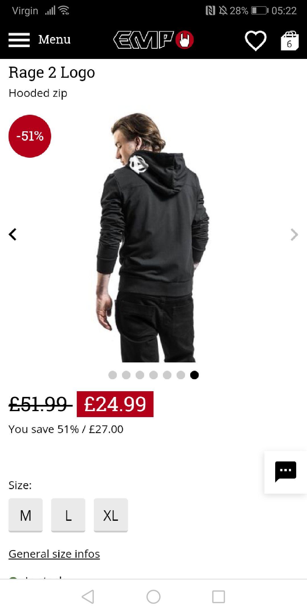 Rage 2 Logo Hooded zip £24.99 EMP Minimum order of £35.00