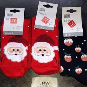 Tesco Christmas Socks In Store down to £1 a pair but the 3 for 2 deal still works , three pairs of socks for £2
