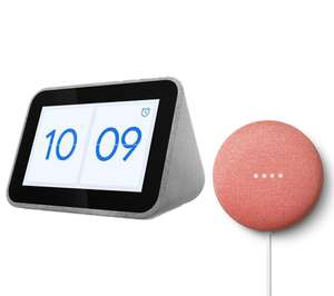 LENOVO Smart Clock with Google Assistant & Google Nest Mini (2nd Gen) Bundles for £49.99 @ Currys PC World