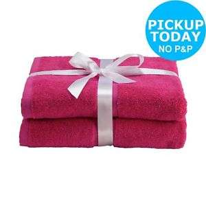 Argos 100% Cotton Pair of Bath Towels £4 (Fuchsia / Navy / Stone) @ Argos eBay (Free C&C)