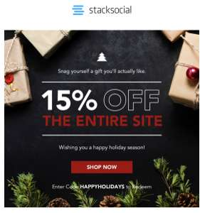 StackSocial 15% off The Entire Site