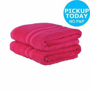 Argos Home 100% Cotton Non Iron Pair of Hand Towels 450gsm - Fuchsia £2 Argos on eBay - FREE Click & Collect at Argos