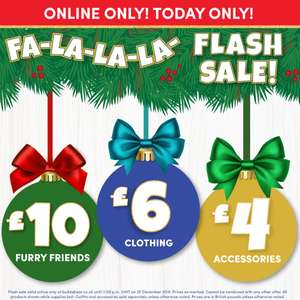 Build a bear Christmas day online flash sale - Bears £10 Clothing £6 Accessories £4