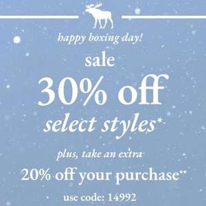 Abercrombie & Fitch Sale - 30% off automatically on price. Then on checkout add a further 20% off with code
