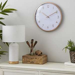 Silver/Gold/Black Metallic 33cm Wall Clock £2.50 (More In OP) @ Dunelm (Free Collection Only)