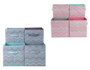 Set of 4 Blue or Pink Zig-Zag Canvas Boxes for £7.49 @ Argos