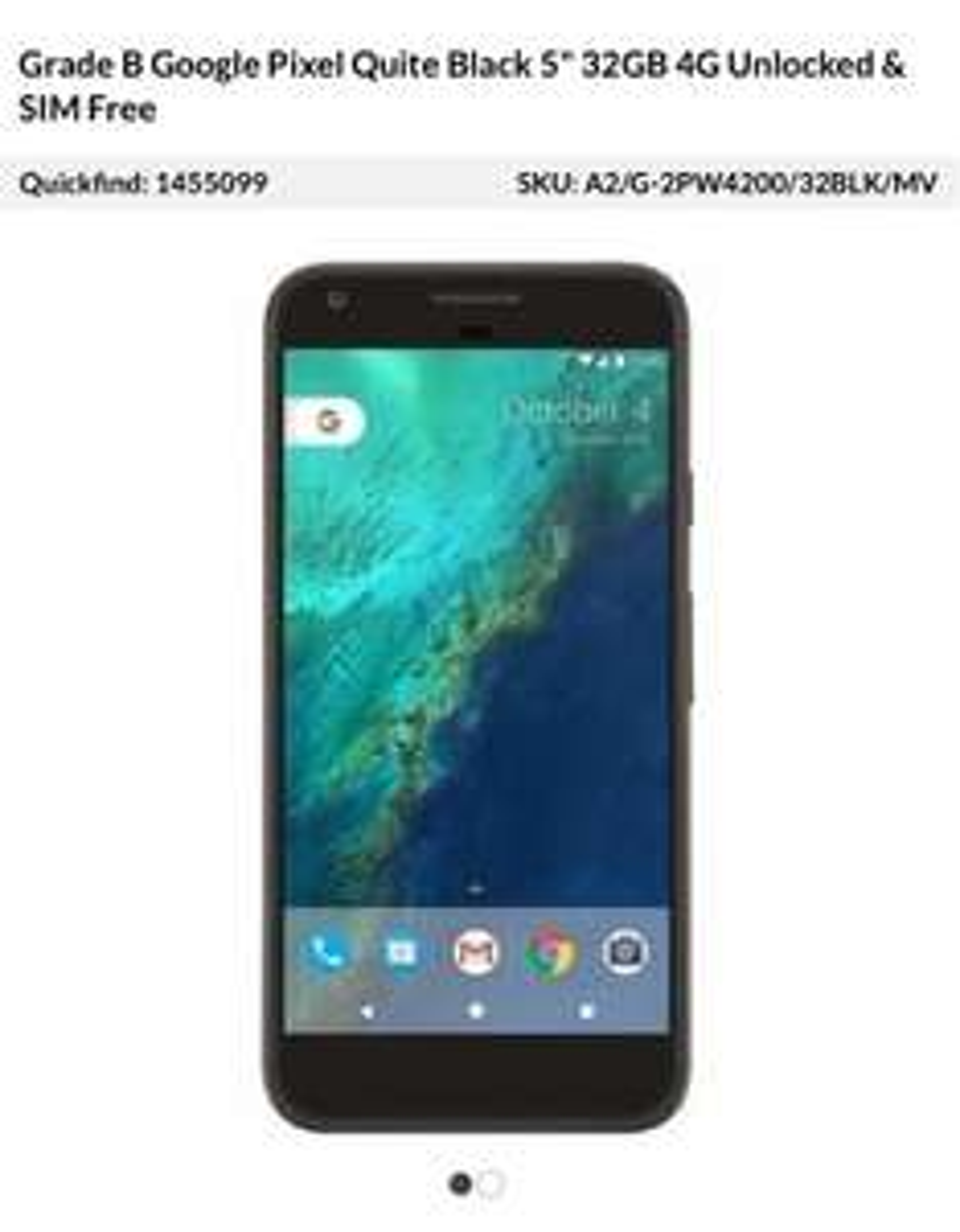 "Grade B Google Pixel Quite Black 5"" 32GB 4G Unlocked & SIM Free £59.97 @ Laptops Direct"
