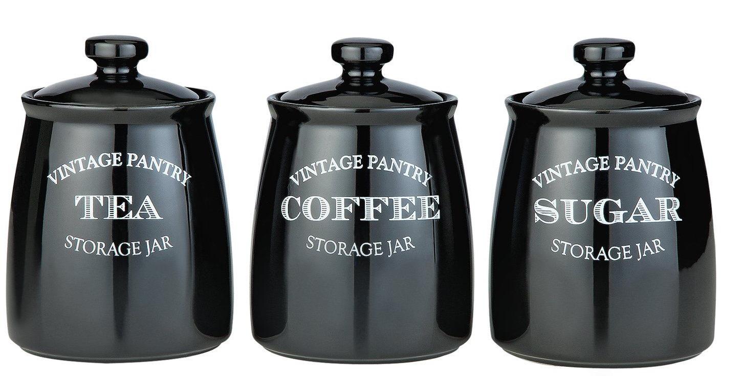 Argos Home Eve Traditional Set of 3 Storage Jars - Black - £13.50 + Free Click & Collect @ Argos
