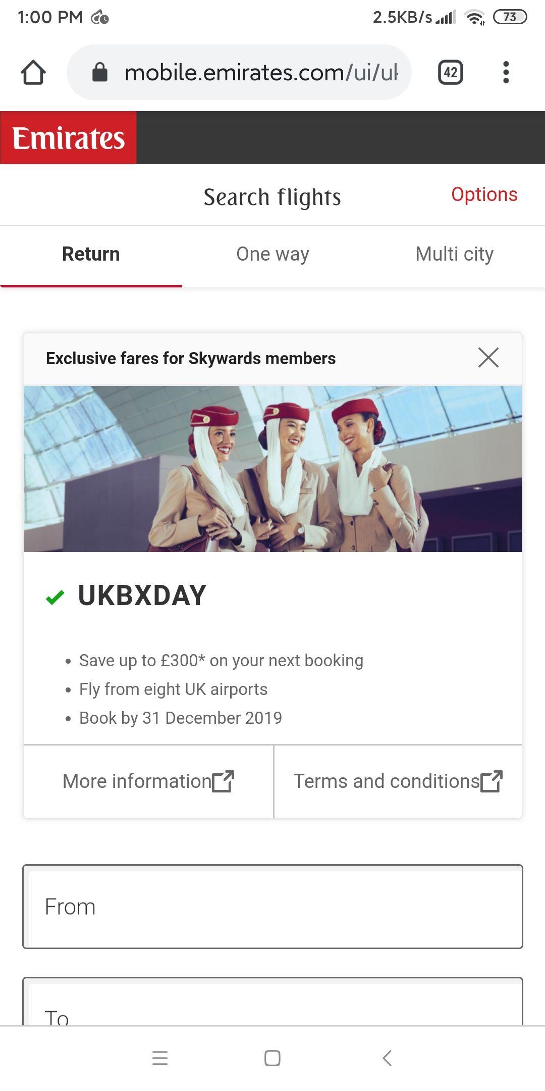 Voucher off Emirates flights