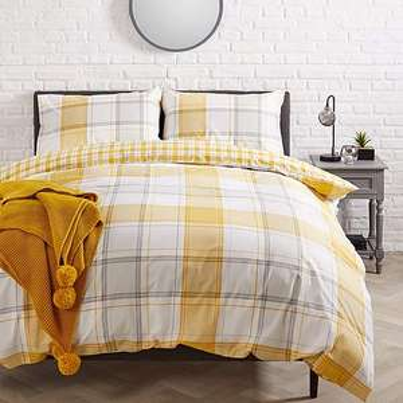 Dunelm - Leo Check Ochre Duvet Cover and Pillowcase Set - Single £5 - Double £6 - King £7 - Free C&C