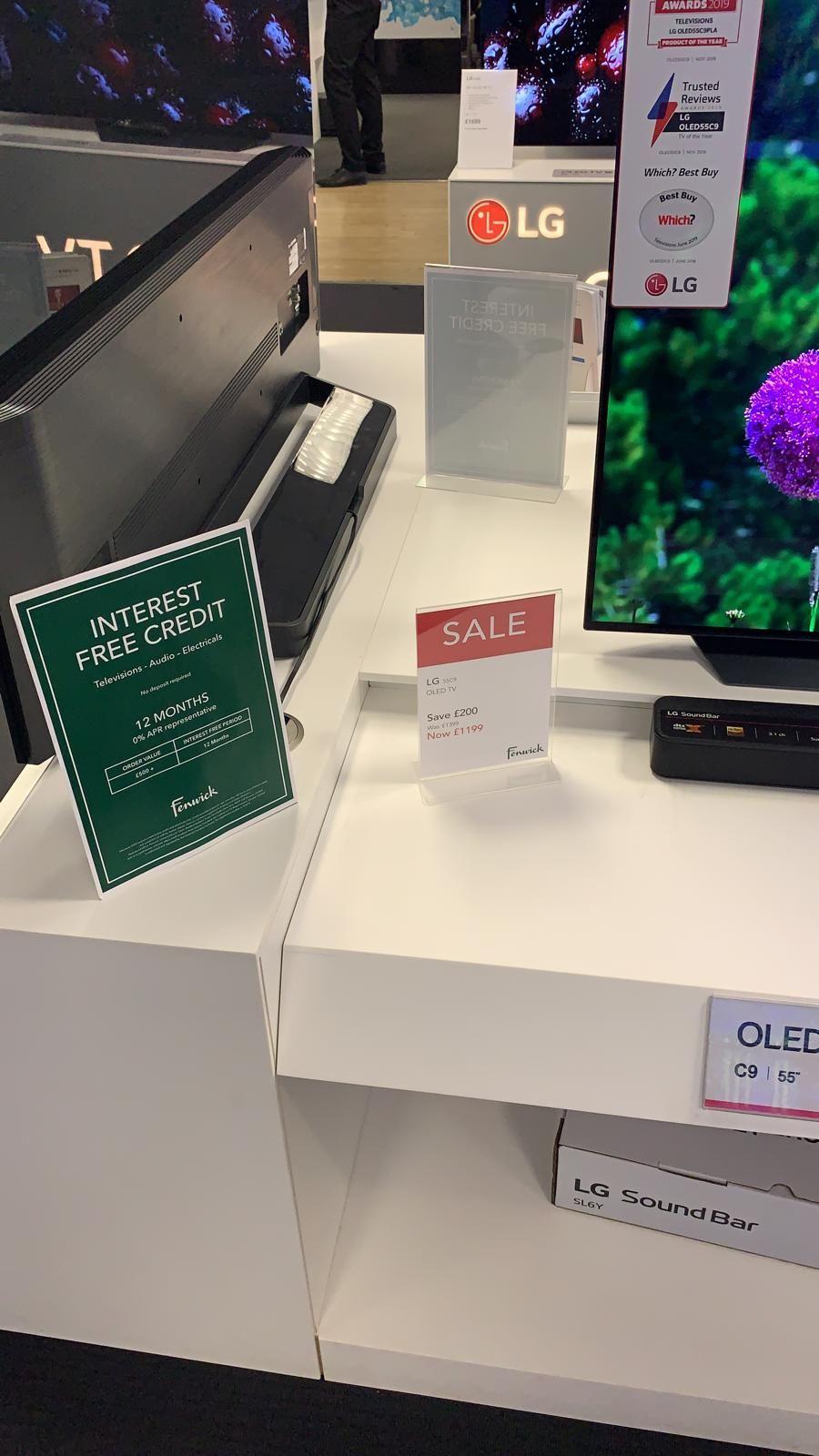 "LG OLED55C9PLA 55"" Smart 4K Ultra HD HDR OLED TV £1199 @ Fenwicks Newcastle"