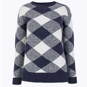 Checked Relaxed Fit Jumper (was £19.50) Now £9.75 + free click & collect @ Marks & Spencer