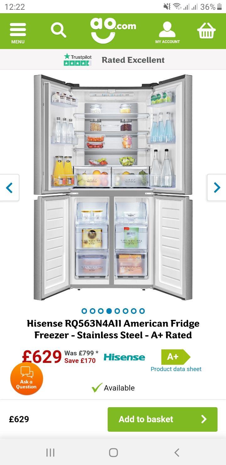 Hisense RQ563N4AI1 American Fridge Freezer - Stainless Steel - A+ Rated