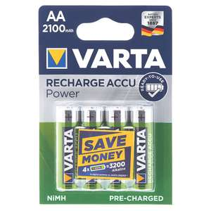 Varta Ready2Use Rechargeable Batteries AA / AAA Pack of 4 £2.98 @ Screwfix (free click and collect)