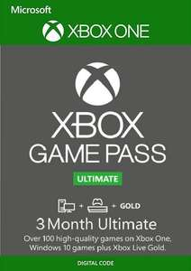 3 Month Xbox Game Pass Ultimate (Xbox One / PC) £14.49 @ CDKeys