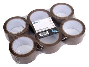 PAVO Premium 50 mm x 66 m Polypropylene Packing Tape - Brown (Pack of 6) £3.60 at Amazon (Add-on item) +£4.49 non prime