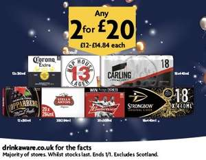 Carling, Bud, Corona, Stella, Magners, Strongbow, Hop House, Kopparberg and more 2 for £20 - Mix 'n Match @ Morrison's
