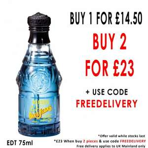 VERSACE Versus Blue Jeans Eau de Toilette 75ml Spray 2 Bottles for £23 Delivered @ BeautyBase with Code FREEDELIVERY