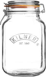 Kilner Square Glass Top Jar with Rubber Seal and Stainless Steel Clip, 1.5 Litre £3.20 Prime / £7.69 Non-Prime Amazon