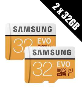 2 x Samsung Memory Evo 32GB Micro SDHC Card 95MB/s UHS-I U1 Class 10 with Adapter £8.50 at Base