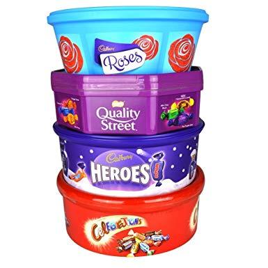 Chocolate Tubs (Quality Street & Celebrations 650g / Roses & Hereos 600g) £2.50 / Quality Street 800g Gold Tin £3 /Roses 800g Tin £4 @ Tesco