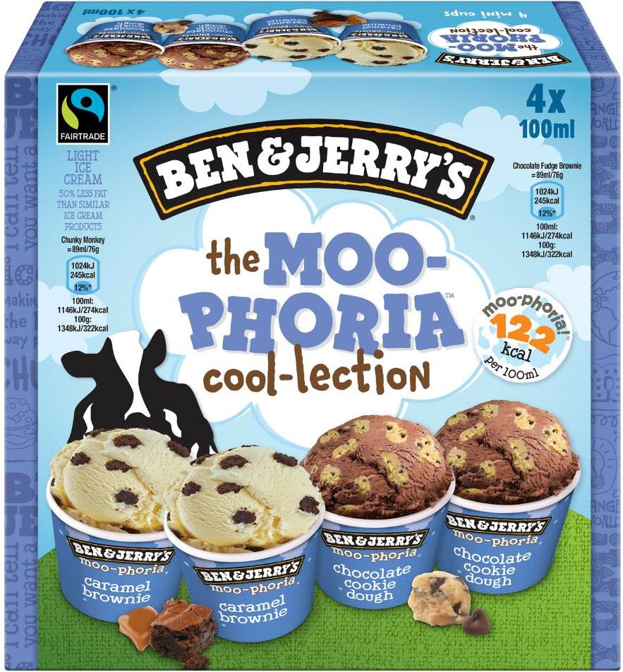 4 x 100ml Ben & Jerry's, Fairtrade Moo-phoria Collection, Light Ice Cream. £1 Heron Foods, Abbey Hulton