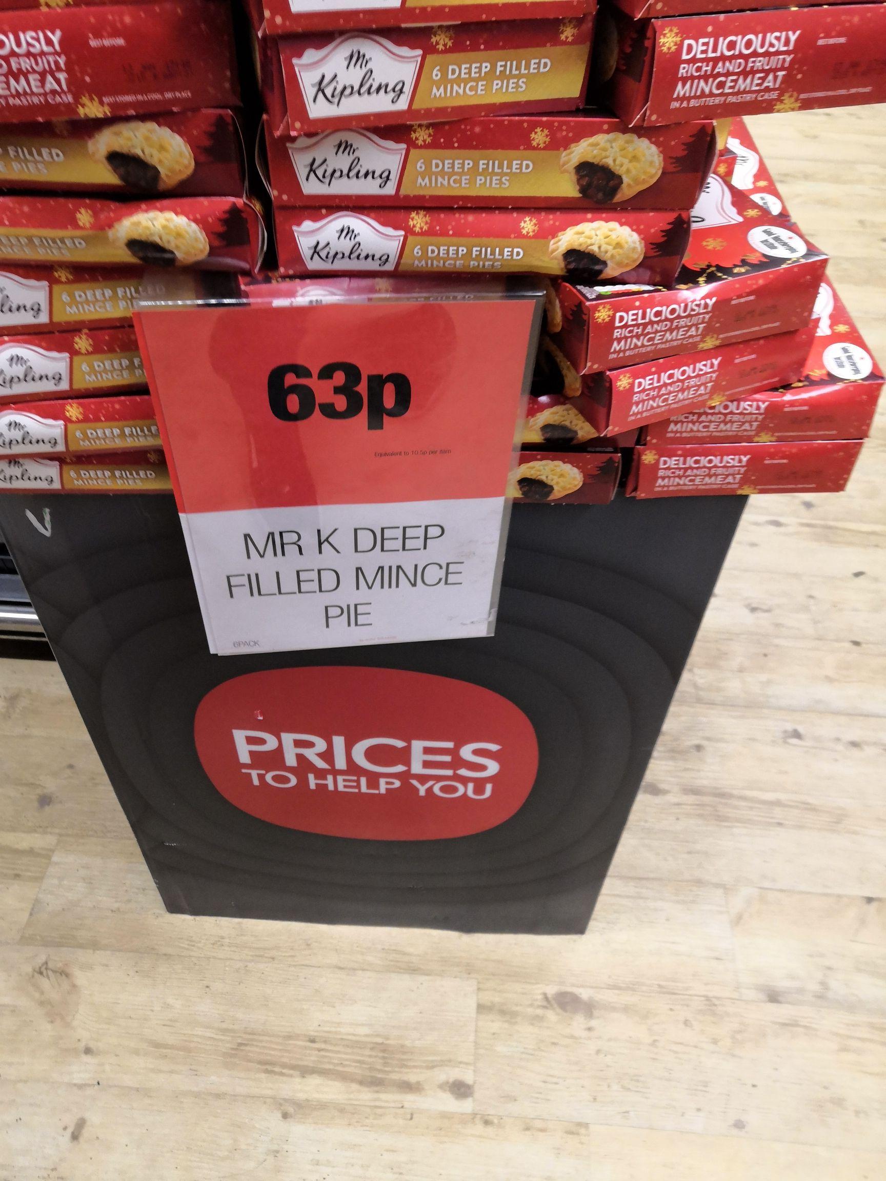 Mr Kipling mince pies 6 pack 63p at COOP