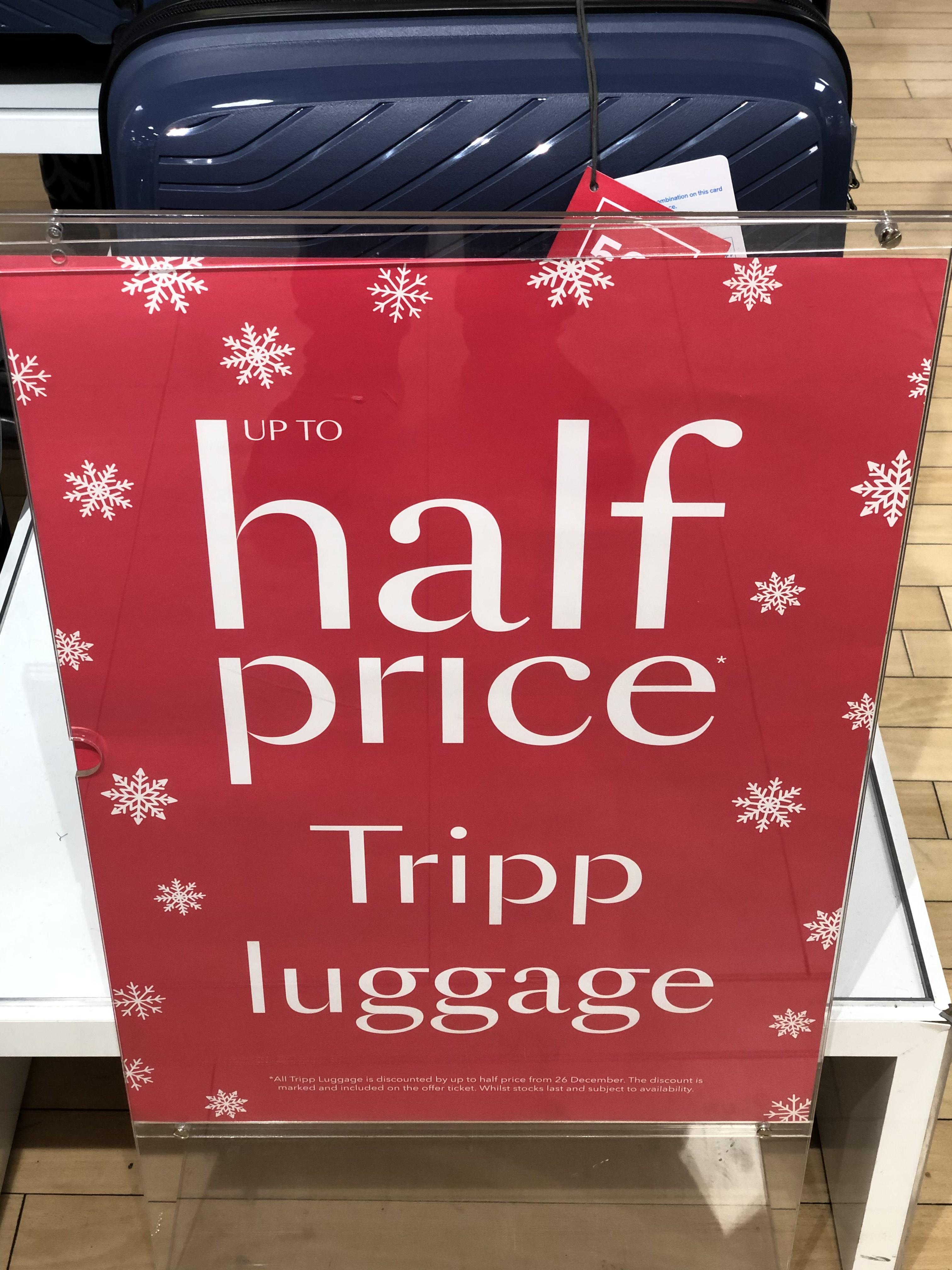 Up to Half Price Tripp luggage suitcase at Debenhams with 5 year guarantee