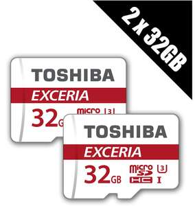 2 x Toshiba 32 GB EXCERIA M302 Micro SDHC UHS-I U3 Class 10 with Adapters (Multi-pack of 2 x THN-M302R0320EA) for £9.99 Delivered @ Base
