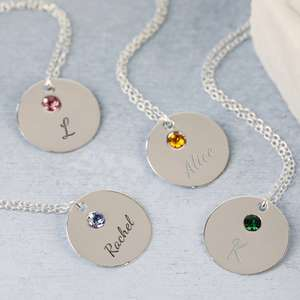 Personalised sterling silver birthstone disc name necklace £5.80 @ Lisa Angel Jewellery