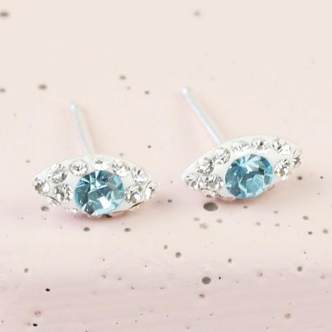 Sterling Silver Diamante Eye Stud Earrings in White £3.60 @ Lisa Angel Jewellery