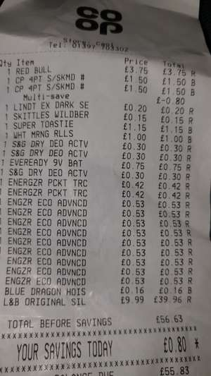 Bargains at local Co-operative Highlands (e.g. batteries down to 53p deodorant down to 30p etc.)