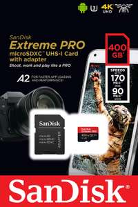 anDisk Extreme Pro 400 GB microSDXC Memory Card + SD Adapter with A2 App Performance + Rescue Pro Deluxe 170 MB/s Class 10 ay Amazon £69.99
