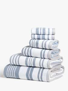 Salcombe Stripe Towels, Coastal Blue £5.50 + £2 Click & Collect at John Lewis & Partners
