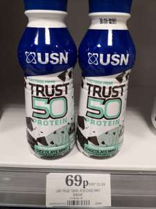 USN trust 50g protein drink Choc mint 500ml 69p at Home Bargains Blackpool