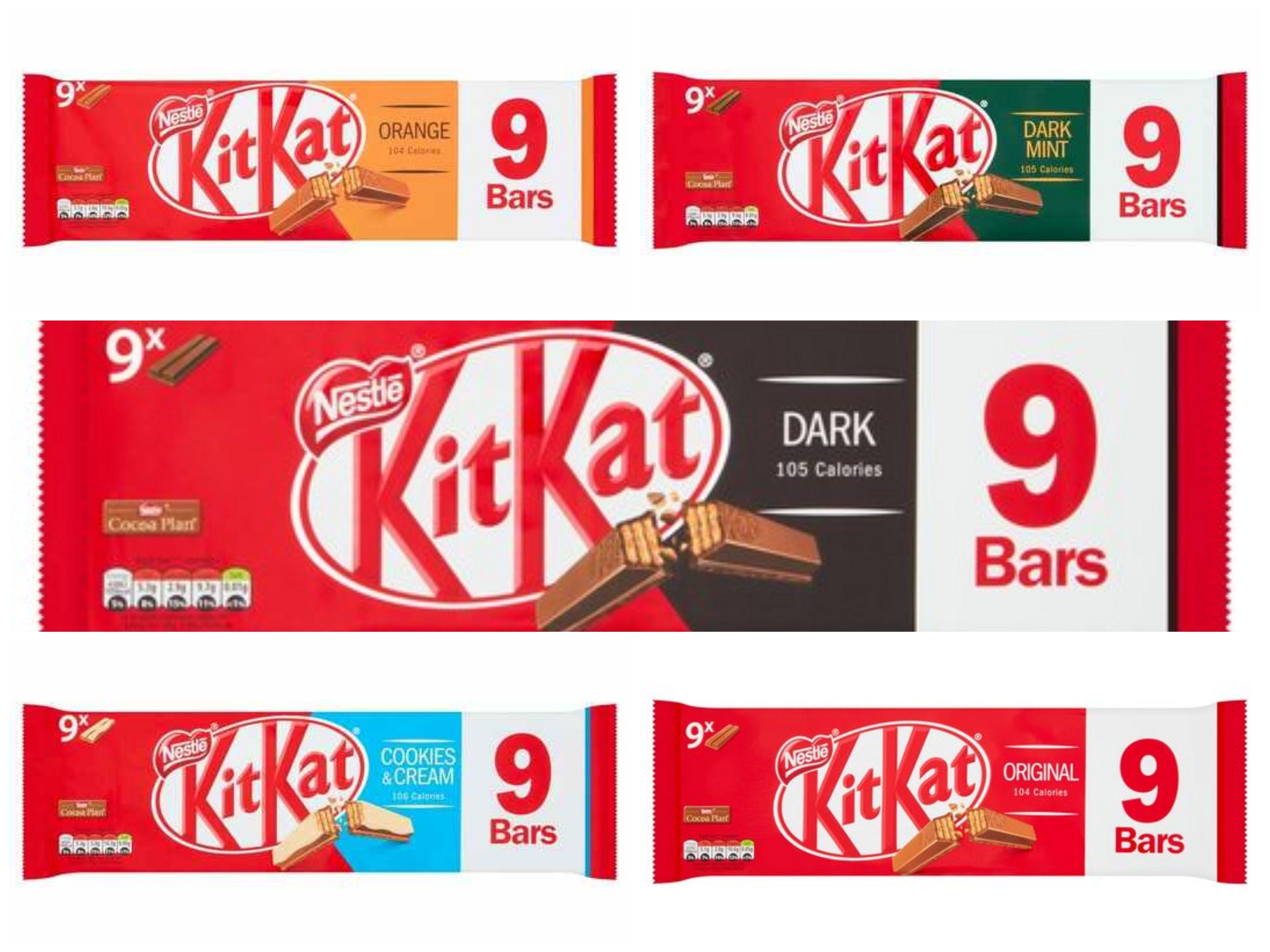 Kit Kat 2 Fingers 9 pack - All Flavours (Dark / Orange / Cookies & Cream / Mint / Milk) for £1 @ Tesco